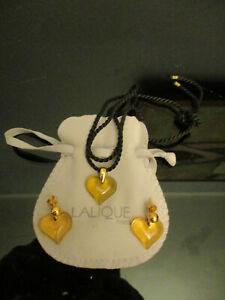 LALIQUE COEUR HEART LOVE HONEY AMBER CRYSTAL PENDANT NECKLACE EARRINGS SET!