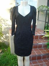 ANDREW GN GRAYISH BLACK SHEER LACE STRETCH COCKTAIL DRESS Sz 40 MADE IN FRANCE