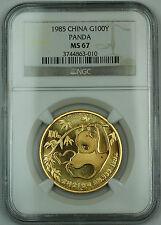 1985 China 100 Yuan Panda 1 Oz. 999 Gold Coin NGC MS-67