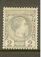 "MONACO STAMP TIMBRE N° 2 "" PRINCE CHARLES III 2c VIOLET-GRIS 1885 "" NEUF xx TTB"