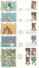 US SC #2082-2085 and 2085a Summer Olympics 1984 FDC. Colorano Silk  Cachet.