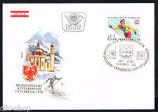 AUSTRIA 1 BUSTA PRIMO GIORNO FDC GIOCHI OLIMPICI INVERNALI SCI DI FONDO 1975