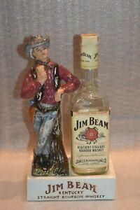 Uncommon JIM BEAM Kentucky Straight Bourbon Whisky Ceramic Cowboy Bottle Display