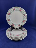 "SANGO ROSEBUD 8809 STONEWARE 6 SALAD  PLATES 7 1/2"" DIAMETER. MADE IN CHINA"
