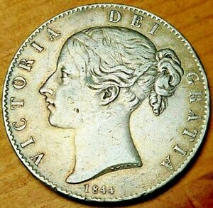 1844 Silver Crown 5 Shillings Queen Victoria a Unc Grade Stunning Example