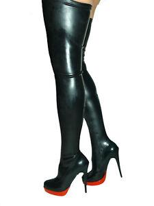 Promotion ! Latex Overknee Stiefel schwarz 42 43 44 45 46 47