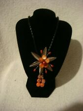 Hand Crafted Fashion necklace  peach  and silver flower