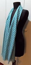 *NEW  Blue & White Spotted Cotton 53.5cm X 184cm Oblong Scarf- Minor Flaws
