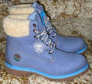 "TIMBERLAND X Just Don 6"" Premium Denim Blue Faux Fur Trim Ankle Boots NEW Mens 8"