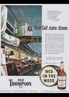 "OLD THOMPSON BOURBON 1946 VINTAGE AD REPRO A4 CANVAS ART PRINT POSTER 11.7""x8.3"""