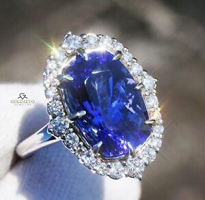 Tanzanite Ring Gold Diamond 14K Natural NO HEAT GIA Certif 7.8CTW RETAIL $15,900