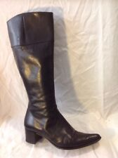 Shellys Black Knee High Leather Boots Size 37