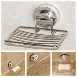 Metal Strong Suction Bathroom Shower Chrome Accessory Soap Dish Holder Tray