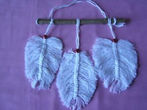 Macrame, White Feather Wall Hanging Natural Twig With Pink Beads Birthday Gift