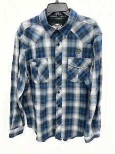 Harley Davidson Mens Large Shirt Blue Plaid Long Sleeve Button Up Spellout