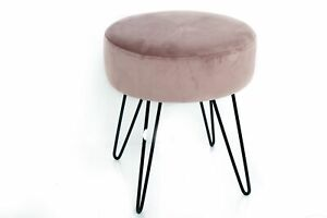 Pink Velvet Fabric Padded Foot Rest Sitting Stool Chair Furniture Office Seat