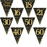 New Black Gold Sparkling Fizz Happy Birthday Party Holographic Bunting 11 Flags