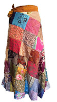 Patchwork Skirt Rapron Reversible Recycled Silk Sari Gypsy Festival Wrap