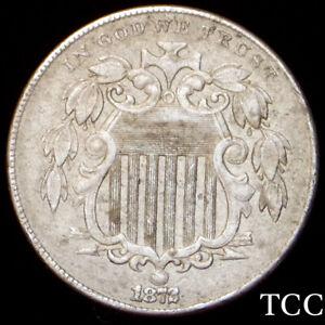1872 SHIELD NICKEL ~ BEAUTIFUL ORIGINAL 5c COIN ~ FREE SHIPPING ~ TCC