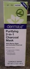 DermaE Purifying 2-in-1 Charcoal Mask NIB 1.7 Oz