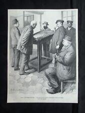 Ospizio di Quinze-Vingts, Francia: Biliardo fra non vedenti Stampa del 1903