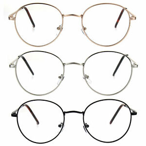 90s Round Retro Metal Rim Classic Clear Lens Eye Glasses