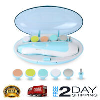 Electric Baby Nail File with Light,Safe Baby Nail Trimmer Clipper w/ 6 Grinding