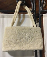 Vintage White/Ivory La Regale Beaded Bridal Purse with Beaded Straps GUC