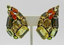 Iradj Moini Cluster Clip Tear Drop Earrings Carnelian Citrine Quartz Peridot
