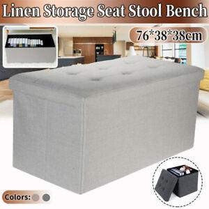 Large Folding Storage Ottoman Foot Stool Toy Box Heavy Duty Rectangle Bench NEW