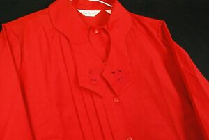 Vintage Red Pleated Ruffled Button Up Shirt Womens 14 Red Blouse Tie Neck Tuxedo