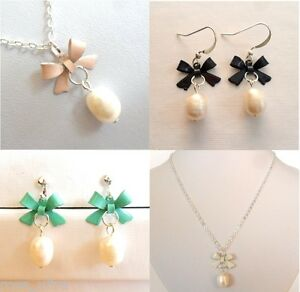 Genuine Pearl Earrings Necklace Set, Tiny Bow, Gift,Box, Clip on /  Pierced, UK