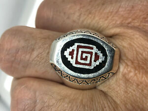 Vintage Southwestern Coral Mens Ring Inlay Silver White Bronze Size 13