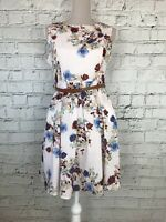YUMI Pale Pink Floral Print Sleeveless Belted Skater Dress Size 10