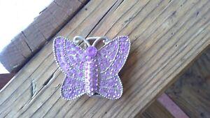 Purple Silver Sparkle Butterfly Belt Buckle