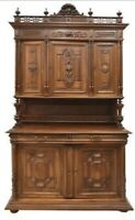Antique Buffet, Sideboard, French Henri II Style Carved Walnut, 1800's Handsome!
