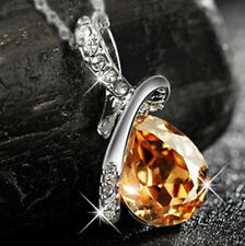 Gold Crystal Pendant Silver Necklace Christmas Gifts for Her Wife Girls Women J1