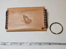 "Handmade leather coin key holder lite tan w/ brown 4 1/4"" X 2 3/4"" Praying hands"