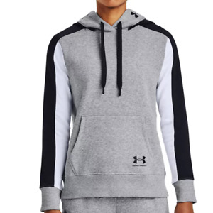 Under Armour Womens Steel White Black Rival Fleece Hoodie Sweater Size M $50