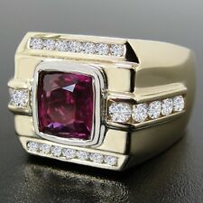 14K Yellow Gold Certified Pink Sapphire 2.05cts Ladies Ring w/0.75cttw Diamonds