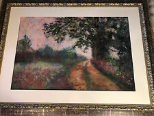 "Huge Carlyn Hess 02 ""Landscape With Path Scene"" Pastel Painting- Signed/Framed"