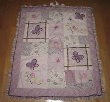 CoCaLo Baby Sugar Plum Purple Butterfly Quilt Blanket Pink Flowers