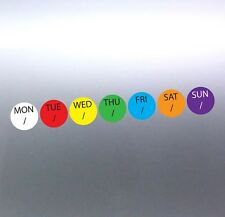 49 stickers at 15mm different colours days kitchen chef use by best before dates