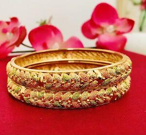 Indian Pakistani 22 Ct Gold Plated Bangles Size 2.4
