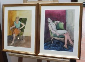 GIRL IN THE CHAIR LISTED FRENCH ARTIST JANINE MARCA 1960,S FREE SHIPPING ENGLAND