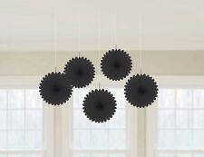 5 BLACK papier ventilateurs pendant Décorations Couleur Noire Thème