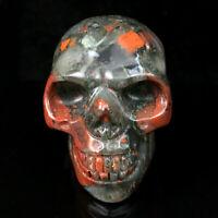 2'' Natural Blood Stone Quartz Crystal Skull Carved Skull Reiki Healing 1pc