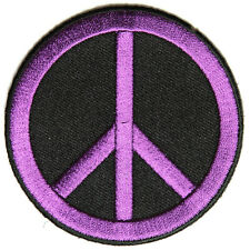 Embroidered CND Symbol Peace Purple on Black Sew or Iron on Patch Biker Patch