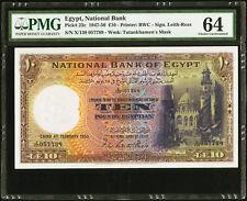 EGYPT , 10 POUNDS 1950 SIGN. ROSS - PMG 64 , RARE