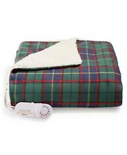Biddeford Electric Plaid Comfort Knit/Fleece Heated Throw Blue/Green Plaid $120
